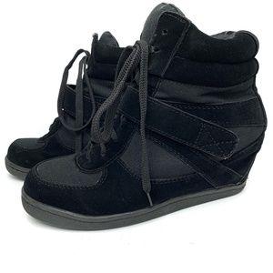 Forever 21 Black Wedge Tennis Shoe Bootie